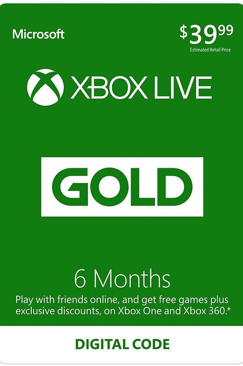 Membresia Xbox Live 6 Meses Gold