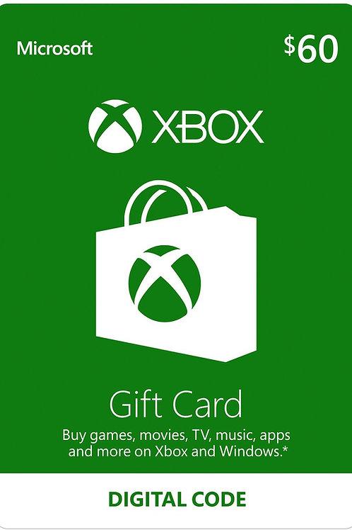 60 USD Xbox Live Gift Card Microsoft