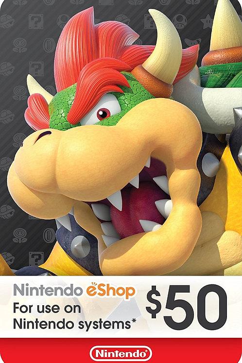 50 USD eCash Tarjeta Nintendo eShop - Switch / Wii U / 3DS