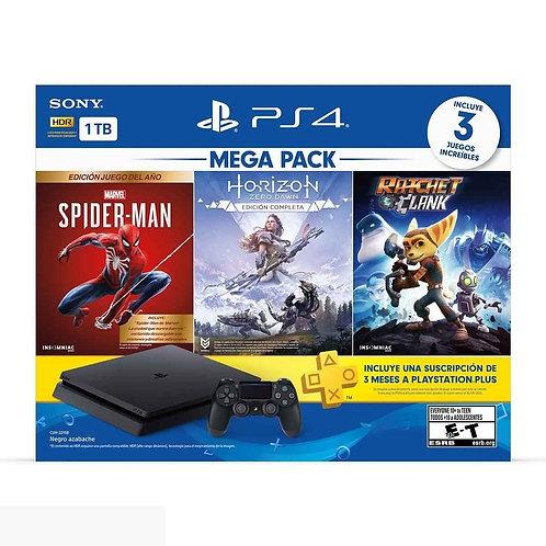 Play Station 4 Slim 1TB Mega 15 Spider-man+ Horizon + Ratchet y Clark