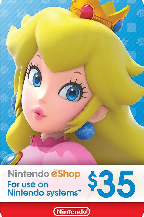 35 USD eCash Tarjeta Nintendo eShop - Switch / Wii U / 3DS