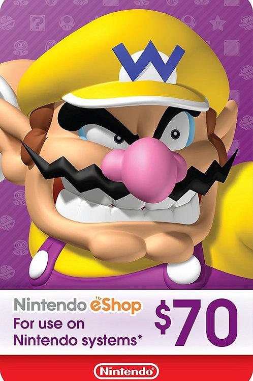 70 USD eCash Tarjeta Nintendo eShop - Switch / Wii U / 3DS