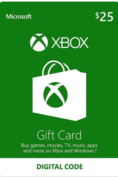 25 USD Xbox Live Gift Card Microsoft