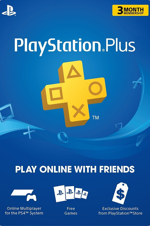 PlayStation Plus 3 Meses PS3 / PS4 / PS Vita