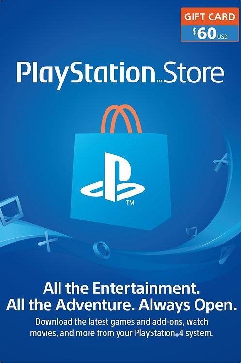 60 USD PSN Gift Card PlayStation Network - PS3/ PS4/ PS Vita