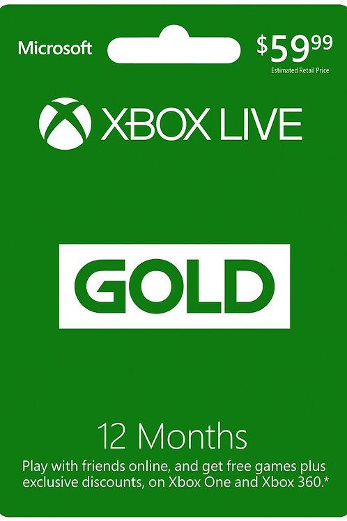 Membresia Xbox Live 12 Meses Gold