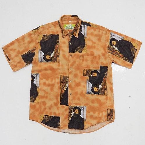 'Oil Painting' Overprint Button Down Shirt - Size L