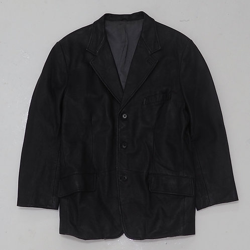 Black Leather Single Breasted Blazer - Size M
