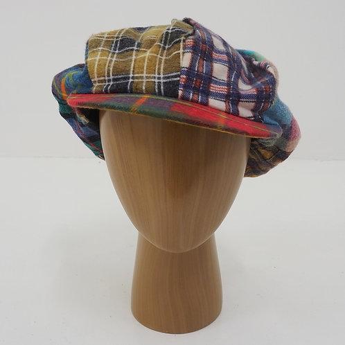Plaid Patchwork Newsboy Hat - Size OS