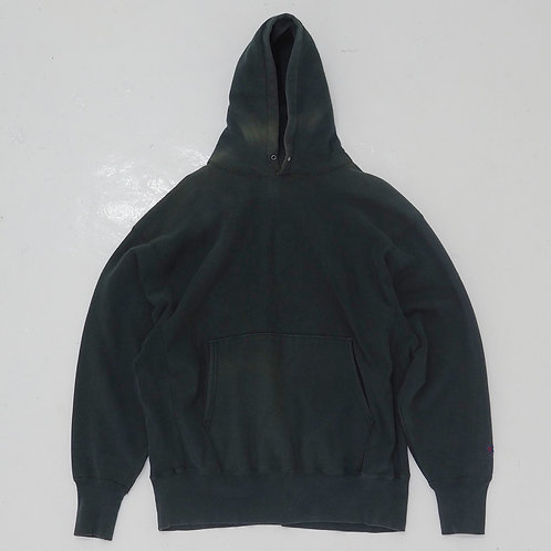 1990s Champion Sun Faded Forest Green Hoodie - Size 2XL