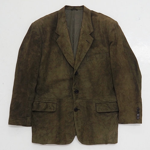 1990s Christian Dior Monsieur Crushed Suede Leather Blazer - Size M