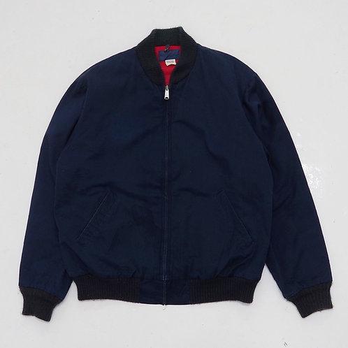 1980s Faded Dark Blue Bomber Jacket - Size XL