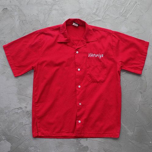 1990s Vintage 'Viktoriya' Bowling Shirt - Size M