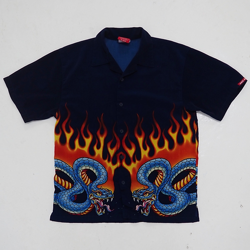 "1990s JNCO ""Flaming Snakes"" Hawaiian Shirt - Size L"