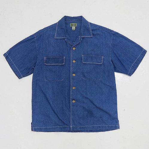1990s Uniqlo Denim Button Down Shirt - Size L