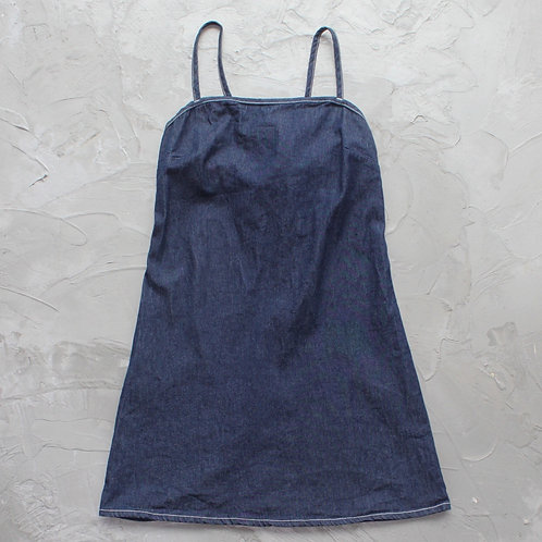 1990s Vintage Jalate Denim Apron Dress - Size S