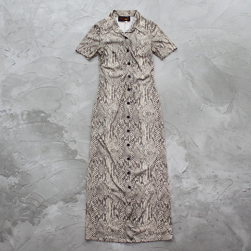Snake Prints Button Collar Dress - Size S