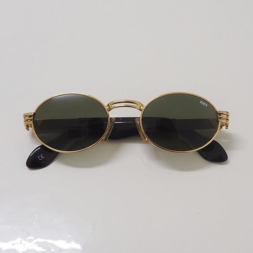 1990s Diablo NOS Gold and Tortoise Round Sunglasses - Size OS
