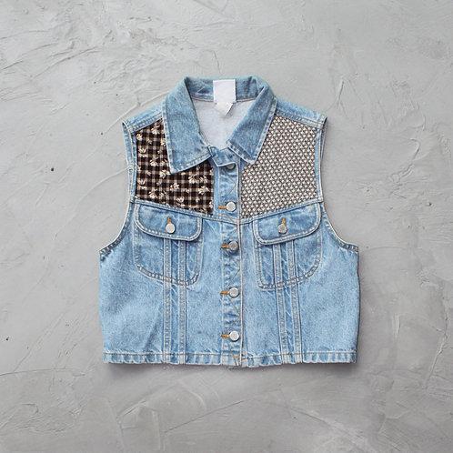 Patchwork Denim Vest - Size S