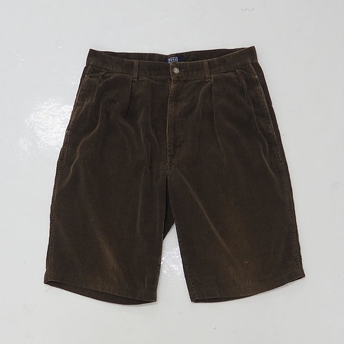 1990s Polo by Ralph Laurent Faded Brown Corduroy Shorts - W32