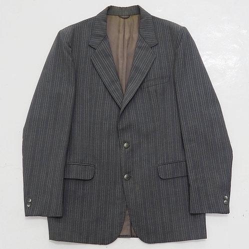 1990s Vintage YSL Grey Pinstripe Blazer - Size L