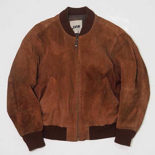1990s JUN Faded Suede Leather Bomber Jacket - Size M