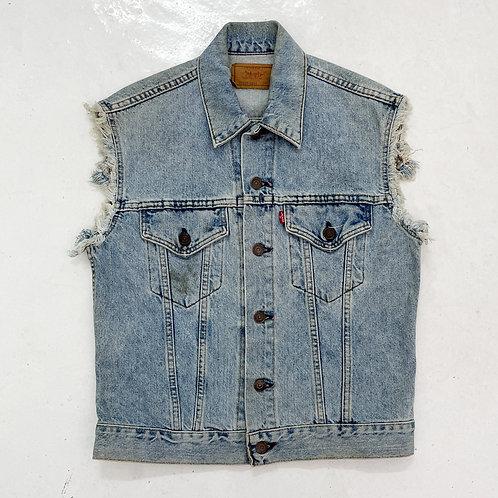 1990s Levi's Distressed Denim Vest - Size M