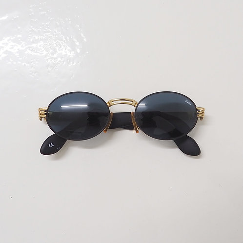 1990s Diablo NOS Gold and Black Round Sunglasses - Size OS
