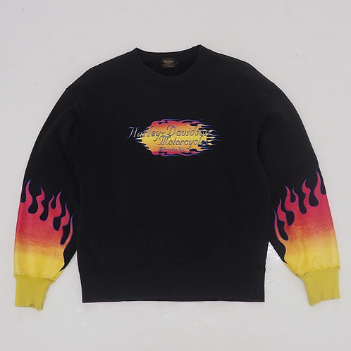 1990s Harley Davidson Distressed Flamed Sweatshirt - Size L