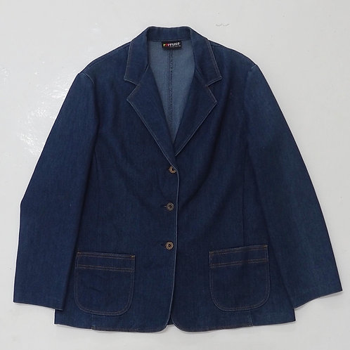 1980s rrrruss Denim Single Breasted Blazer - Size L