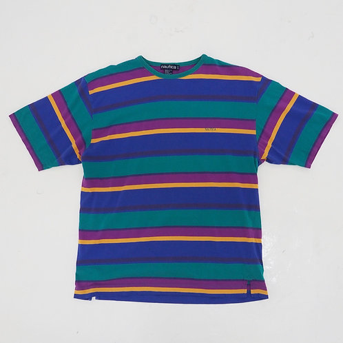 1990s Nautica Striped Tee - Size L