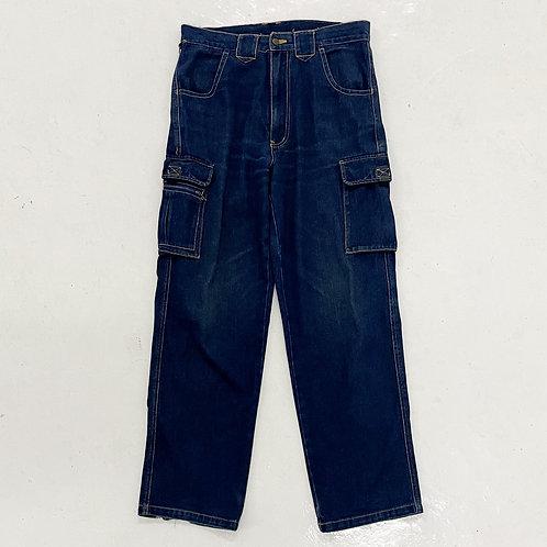 Rinse Washed Denim Cargo Pants - W32