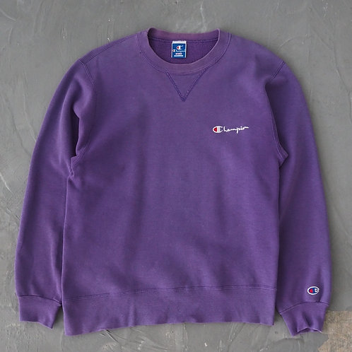 1990s Champion Purple Sun Faded Sweatshirt - Size M