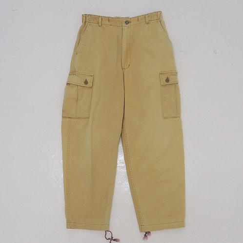 Mustard Washed Cargo Pants - Size L