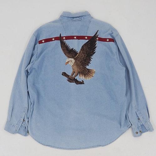 'Flying Eagle' Patchwork Denim Shirt - Size XL
