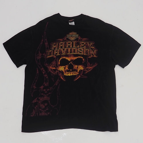 Harley Davidson 'Skull & Flames' Graphic Tee - Size XL