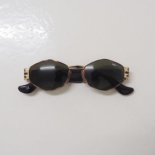 1990s Diablo NOS Tortoise and Gold Hexagonal Sunglasses - Size OS