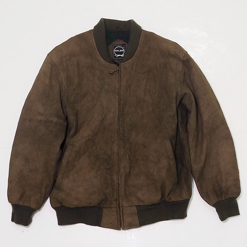 1990s Foxland Faded Suede Leather Bomber Jacket - Size L