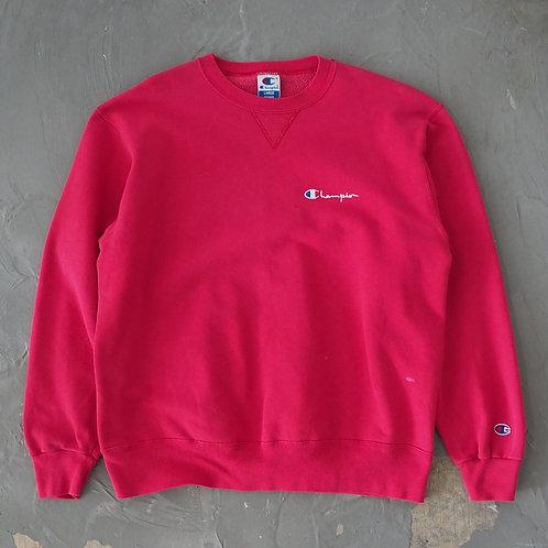 1990s Champion Pink Faded Sweatshirt - Size L
