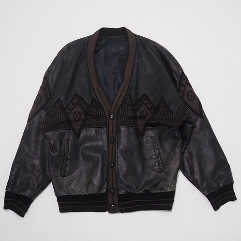 Distressed Leather Patchwork Cardigan - Size XL