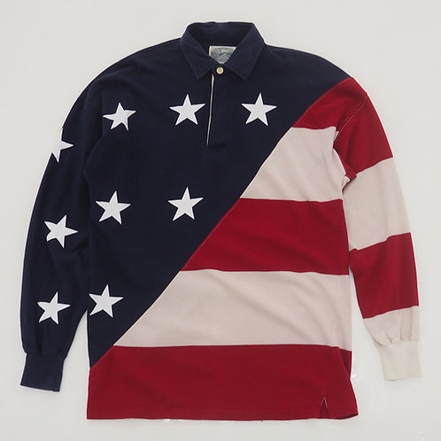 1990s American Flag Allover Printed Polo Shirt - Size M