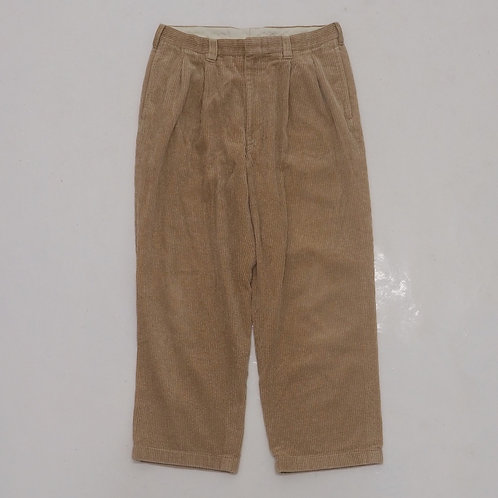 1990s Beige Corduroy Double Pleated Pant - W31