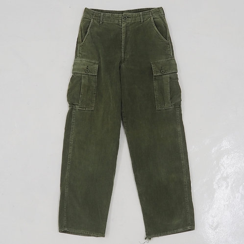 Olive Corduroy Distressed Cargo Pants - W30