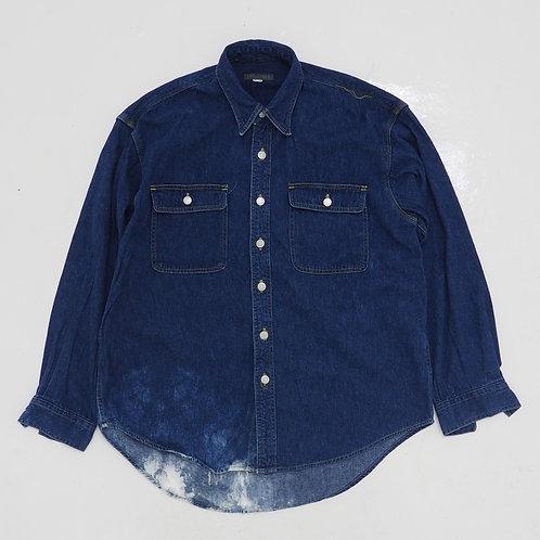 Indigo Distressed Denim Shirt - Size M