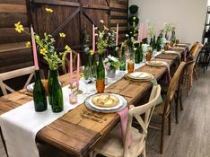 Mason table & wood chairs