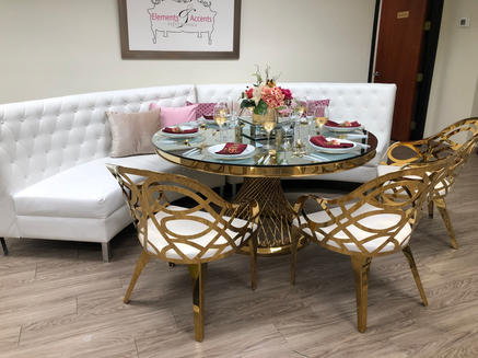 Milan Gold Accent Chairs & Lucite Gold Table