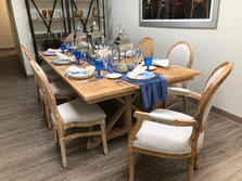 Monica Table & Louis Fabric Back Chairs