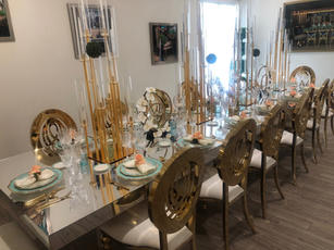 Gold Diana Chairs & Sabrina Tables