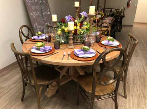 Monica Round Table with Arizona & Willow Chairs