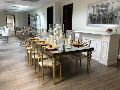 Diana Gold Table & Elle Chairs